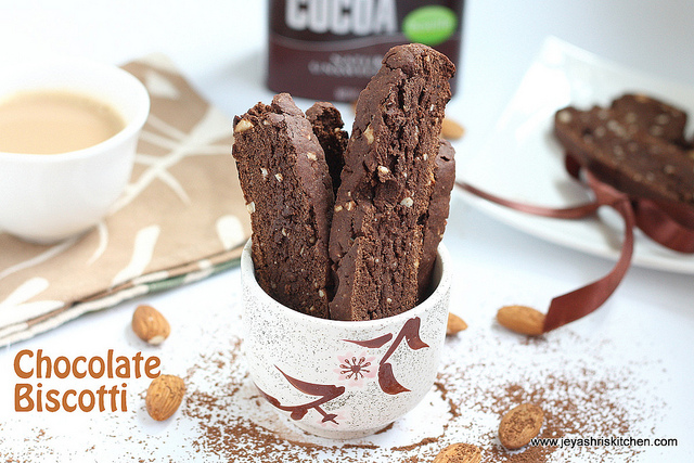 Eggless chocolate biscotti recipe