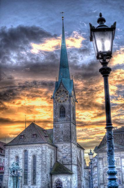 Plan Your Honeymoon in Switzerland | Fraumünster Zurich at Sunset
