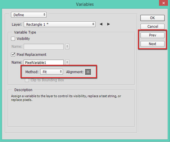 Method, Alignment and Next and Previous buttons in Variables dialog in Photoshop