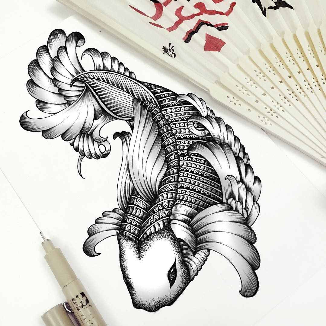 10-Koi-Carp-Faye-Halliday-Haathi-Detailed-Drawings-Representing-Complex-Animal-www-designstack-co
