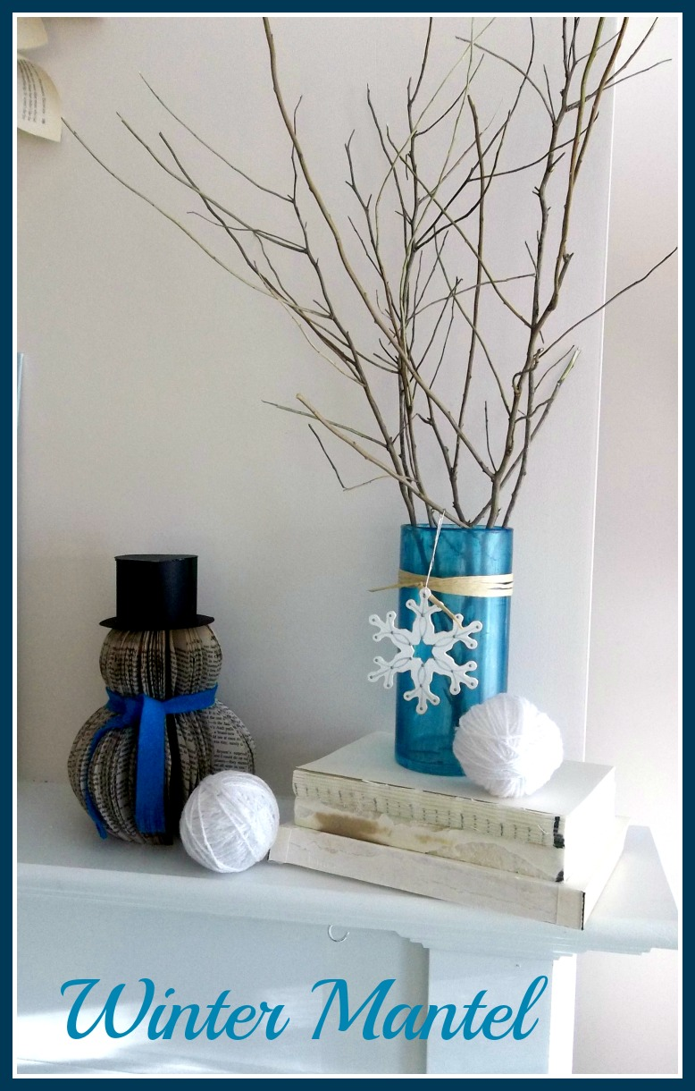 Vintage, Paint and more... a winter mantel decor with book page crafts, thrifted objects and diy projects