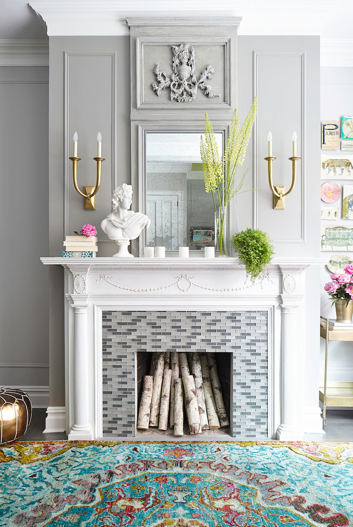 Fabulous living room traditional fireplace with mosaic tile