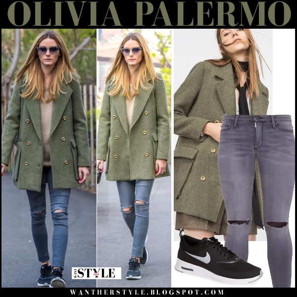Olivia Palermo in green wool zara coat, grey black orchid gisele ripped jeans and black sneakers nike air max thea what she wore walking her dot