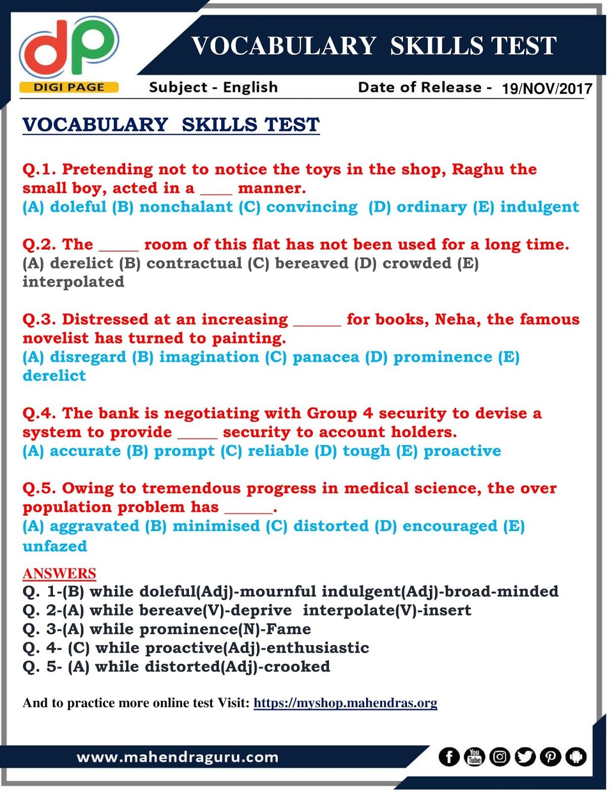 Dp Vocabulary Skills Test 19