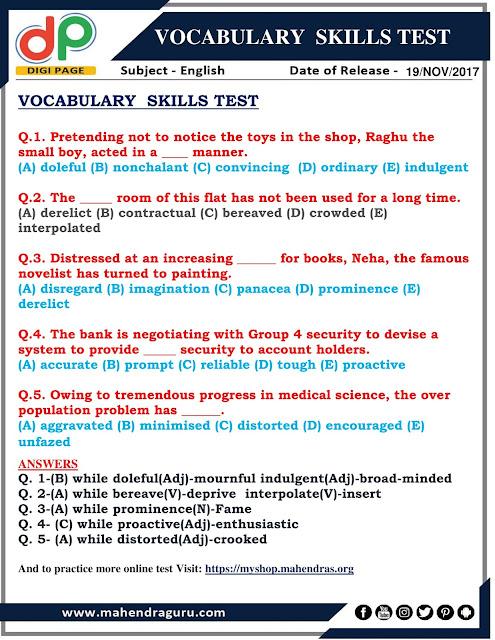 DP | VOCABULARY SKILLS TEST | 19 - 11 - 2017