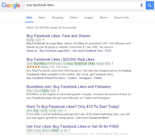 "Screen shot of Google page showing sites that sell Facebook ""Likes"""