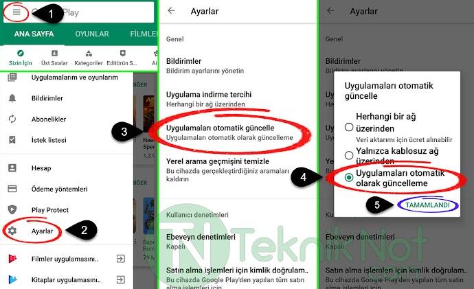Android Otomatik Uygulama Güncelleme Kapatma