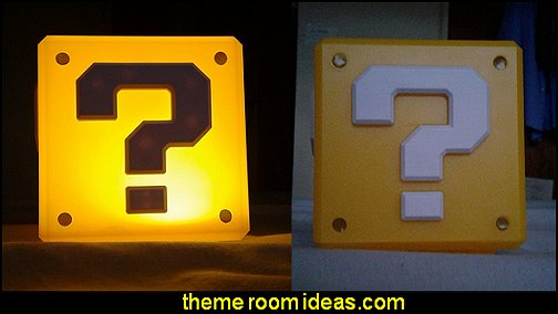 Super Mario Brothers Question Block Night Light - Table Lamp  Gamer bedroom - Video game room decor - gamer bedroom furniture - gamer wall decal stickers - Super Mario Brothers Wall Stickers - gamer bedding - Super Mario Brothers -