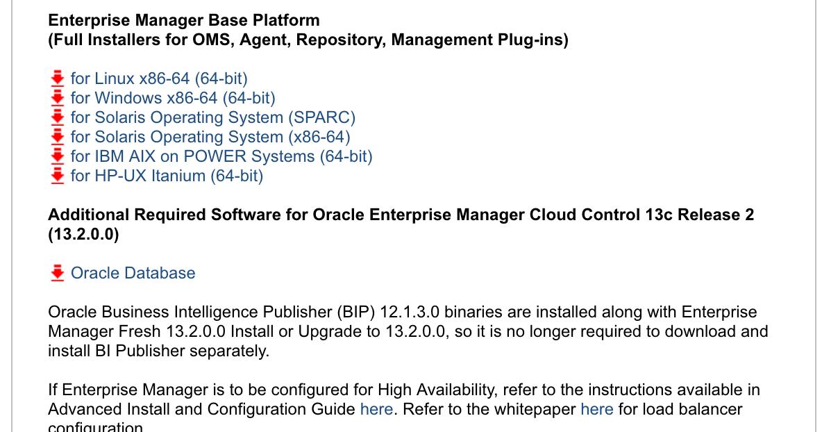 Oracle Enterprise Manager 13 2 0 0 available ~ Dirk Nachbar