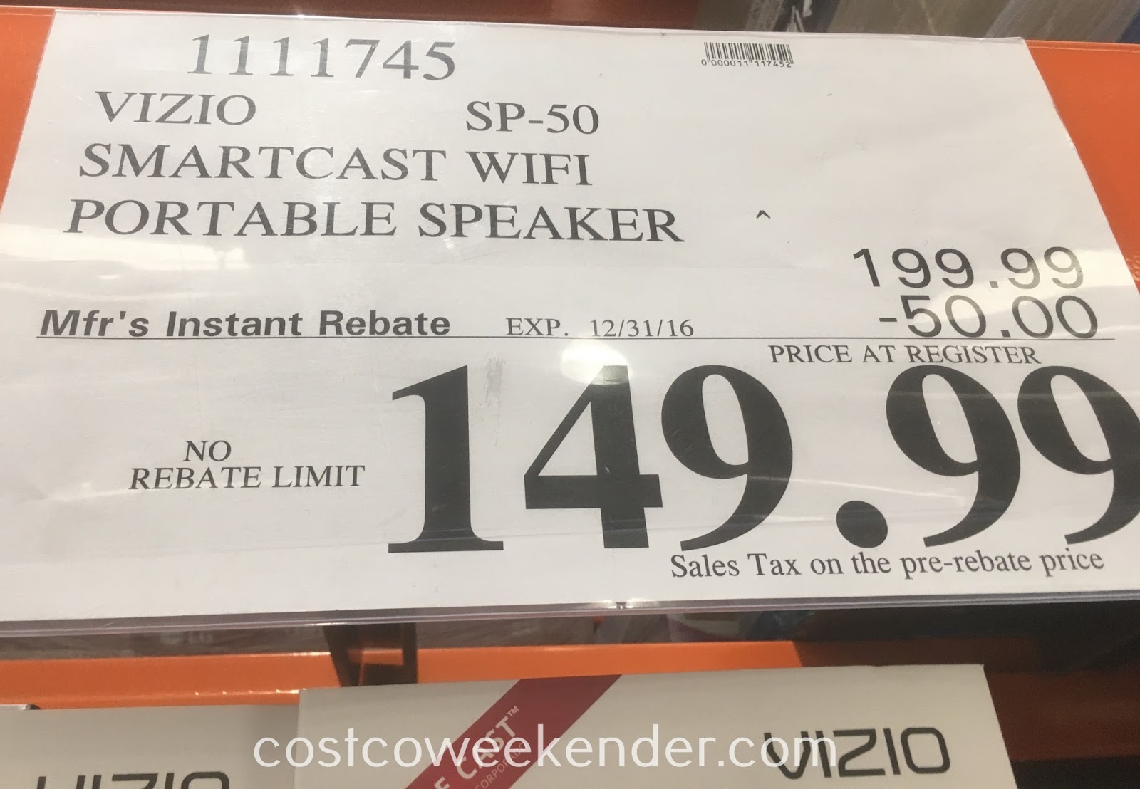 Deal for the Vizio Smartcast Wifi Portable Speaker (SP-50) at Costco