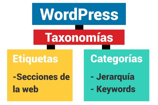 grafico explicativo de las taxonomías en WordPress