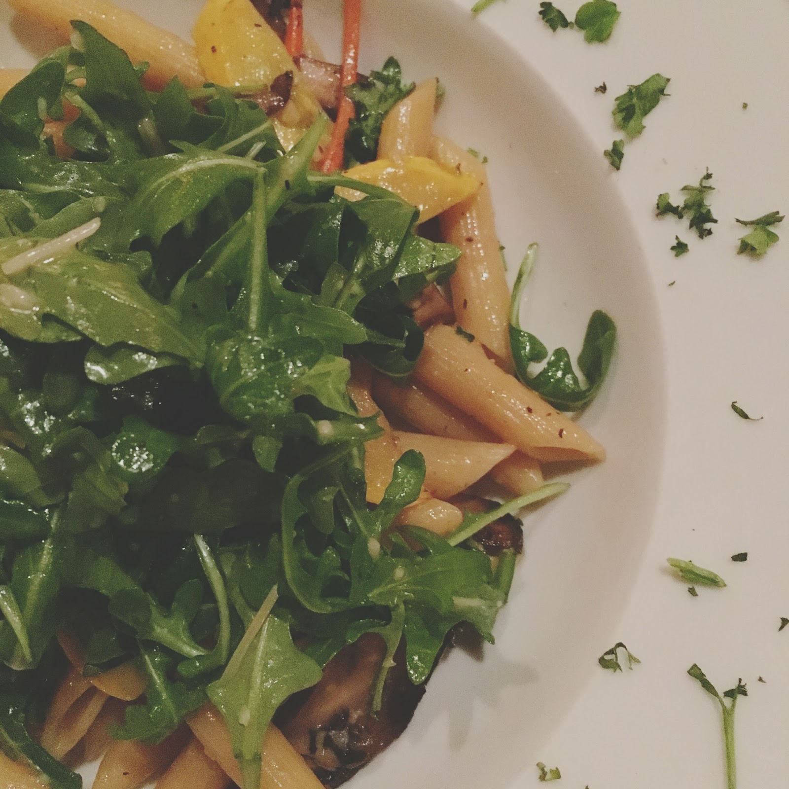 penne pasta with vegetables at The Union Kitchen, a restaurant in Houston