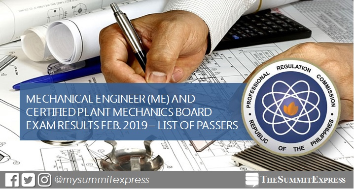 FULL RESULTS: February 2019 Mechanical Engineer ME, CPM board exam list of passers