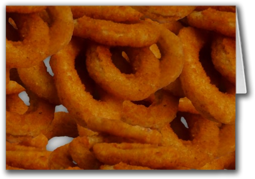 Sold! Fried Golden Onion Rings Photography Greeting Card