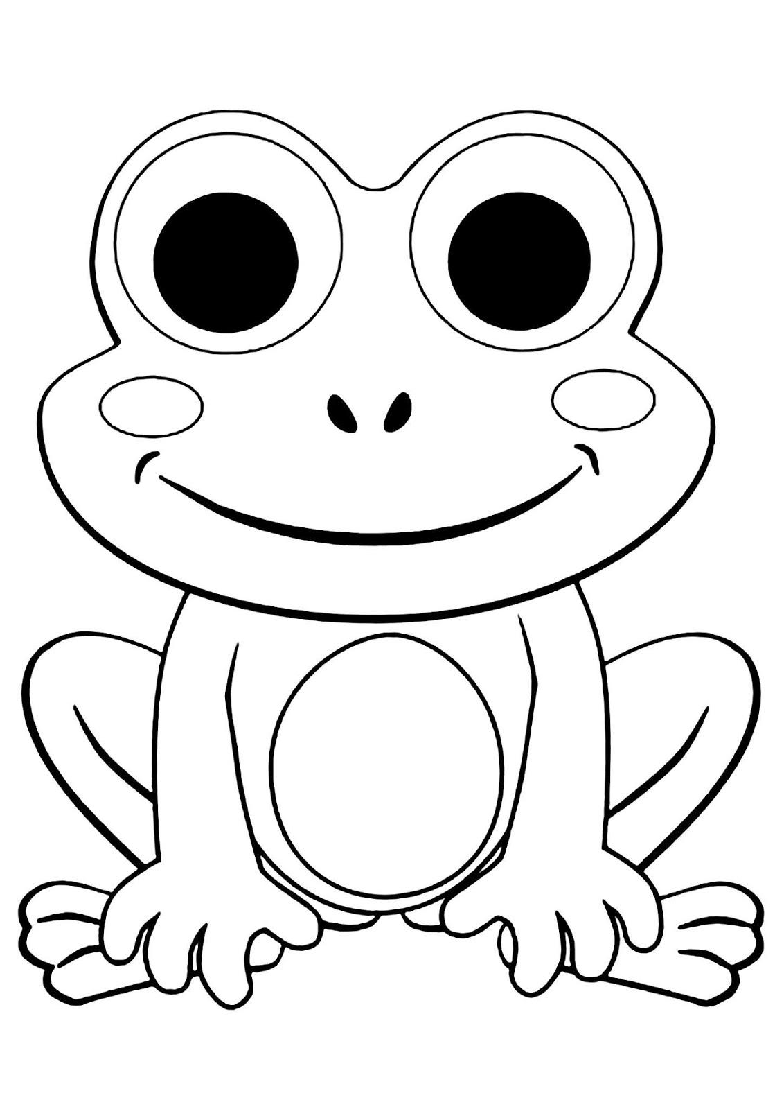 Tranh tô màu chú ếch vẽ đơn giản