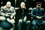 Roosevelt, Churchill y Stalin, principales asistentes a la  Conferencia de Yalta