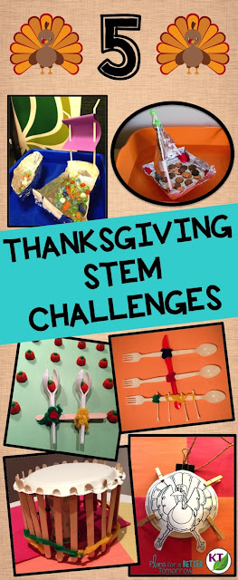 Thanksgiving STEM Challenges provide engaging, meaningful, rigorous work that delight you and your students right up to the last minute before vacation!