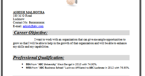 sample resume for mba freshers doc cv templates download free