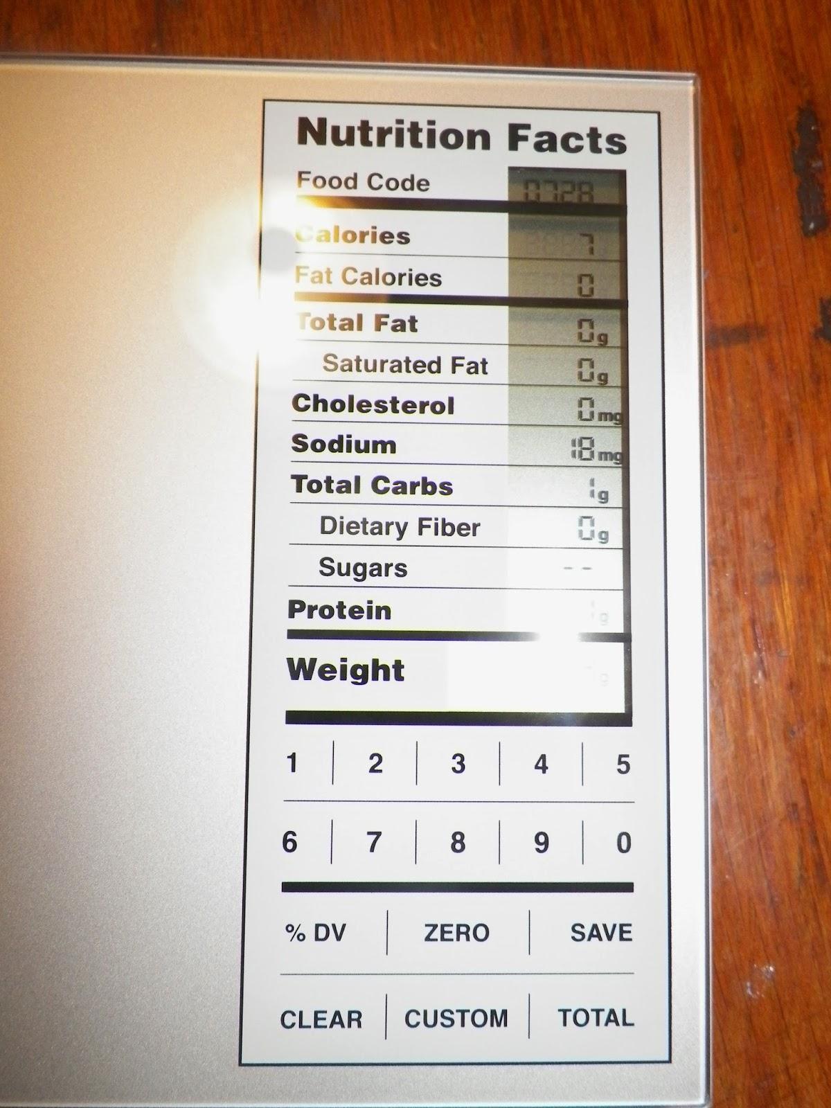 Kitchen Gurus Food Scale Codes