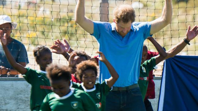 African trip ... Prince Harry takes part in a football training session. Picture: WireImageSource:Supplied
