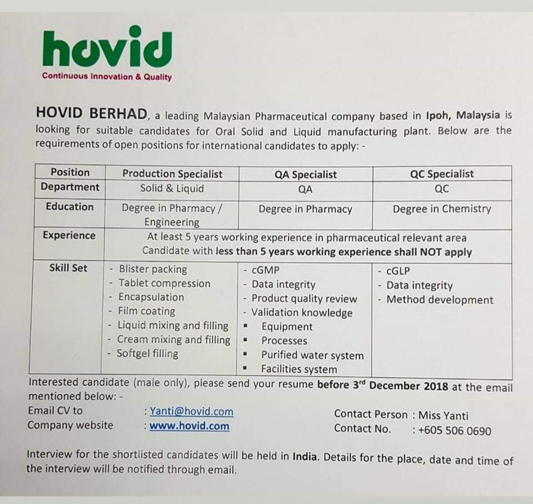 Multiple Job opening at Hovid Berhad for Production/QA/QC