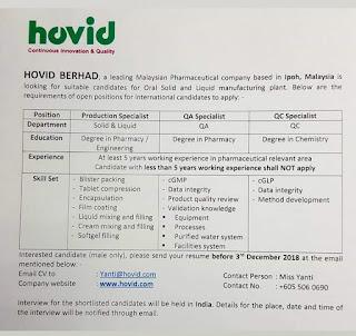 Hovid Berhad Career
