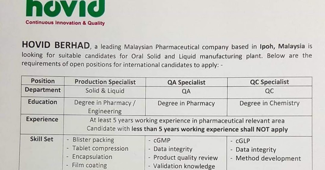Multiple Job opening at Hovid Berhad for Production/QA/QC | Hovid