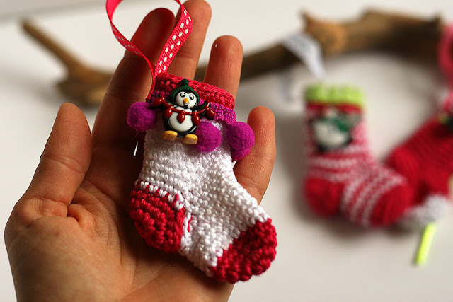 Handmade crochet Christmas stocking ornament