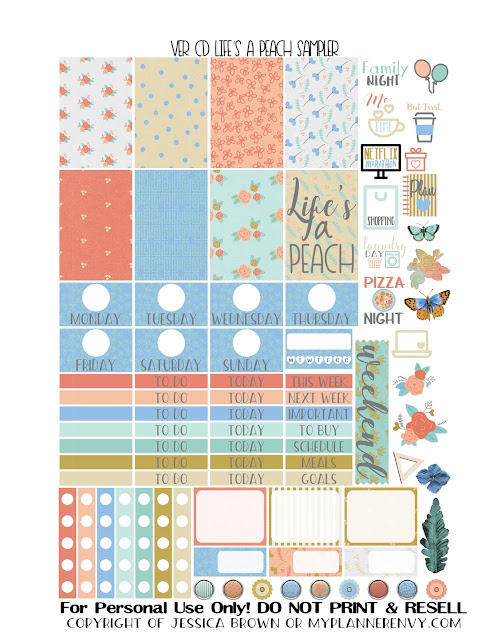 Free Printable Life's A Peach Sampler for the Vertical Carpe Diem Inserts from myplannerenvy.com