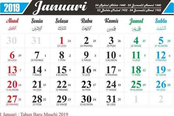 Download Kalender 2019 Lengkap Gratis