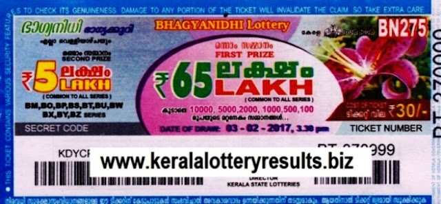 Kerala lottery result official copy of Bhagyanidhi (BN-276) on  10.02.2017