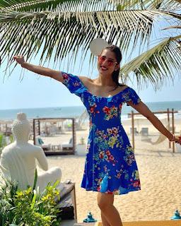 Vidisha Srivastava Sexy Photos in Blue Dress at a Beach