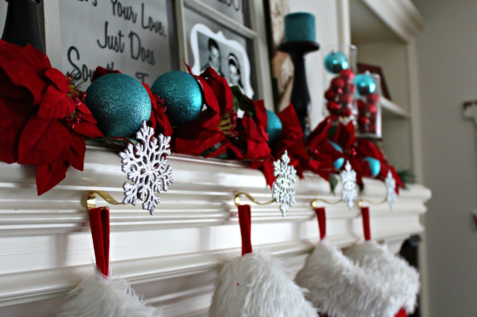 the ornaments were found at a local craft store oriental trading and a friend that passed along her turquoise balls to me - Red White And Turquoise Christmas Decor
