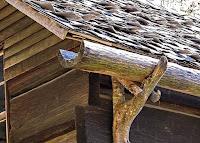 Ahşap bir evin ağaç gövdesinden yapılmış yağmur suyu oluğu