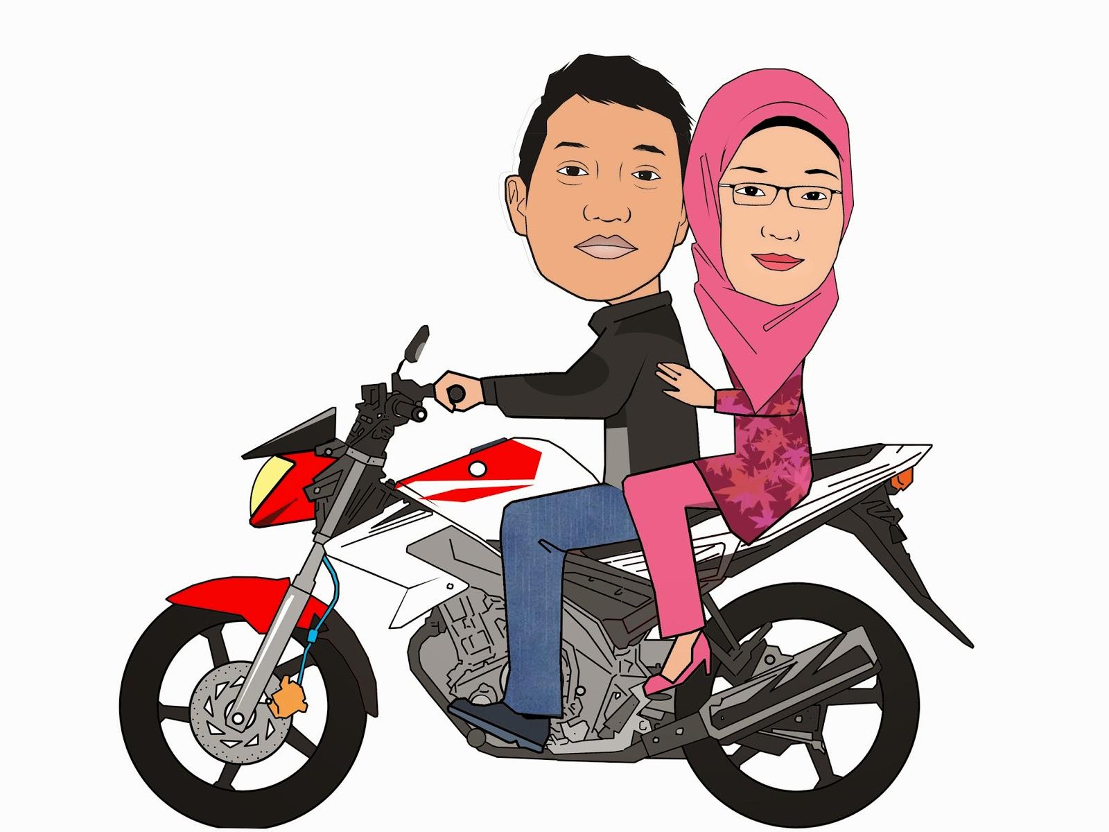 Gambar Orang Naik Sepeda Motor Kartun