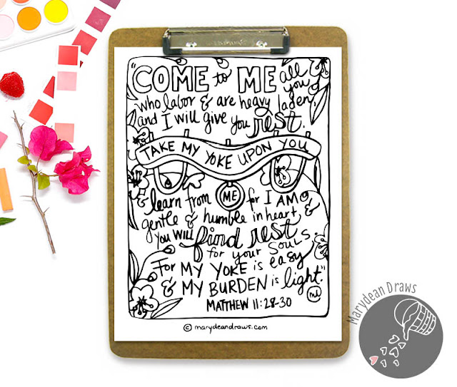 "Matthew 11:28-30 ""Come to me all you who are weary and heavy laden and I will give you rest"" Bible verse coloring page scripture"