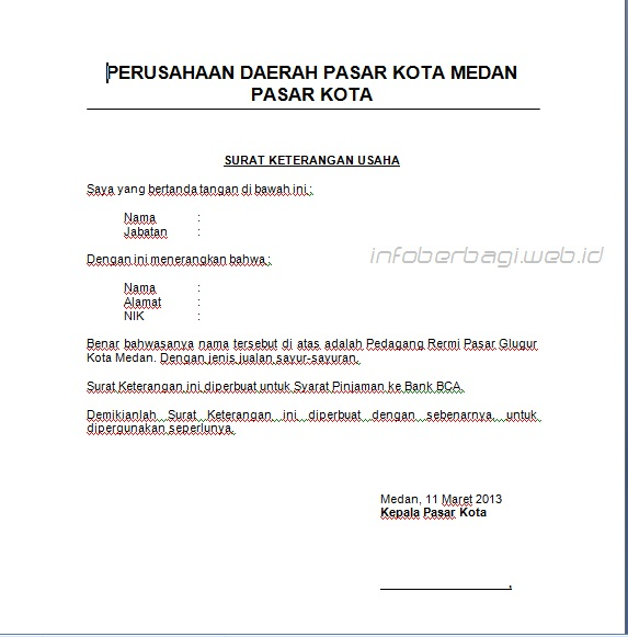 Contoh Surat Keterangan Usaha Info Berbagi