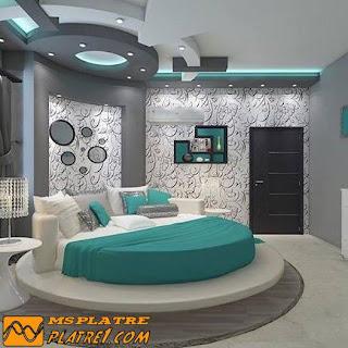 Faux plafond de la chambre à coucher - platre