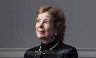 'Human rights has always been a struggle' ... Mary Robinson in her office in Dublin. (Photograph Credit: Johnny Savage/Guardian) Click to Enlarge.