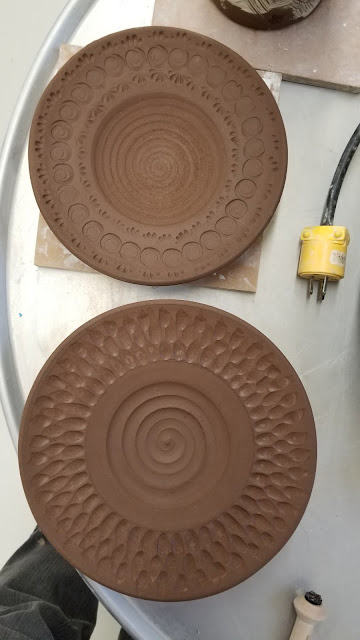 Beautiful carved and stamped ceramic plates - WIP by Lily L.