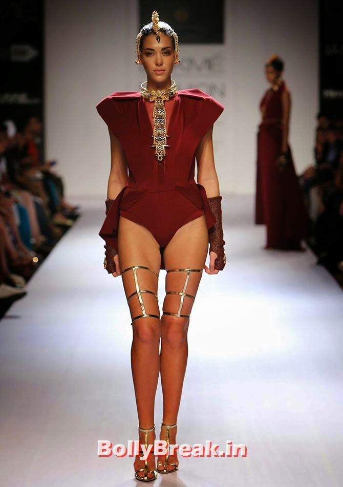 A model in an Akaaro creation, Bizarre Dresses from Fashion Show - LFW