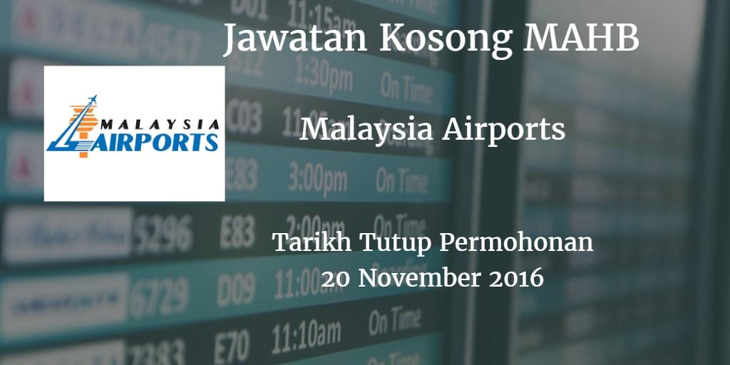 Jawatan Kosong MAHB 20 November 2016
