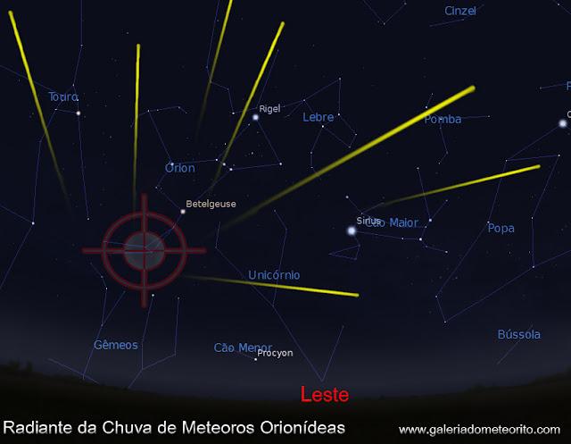 radiante da chuva de meteoros orionidas 2019