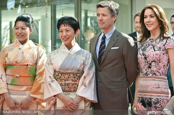 Danish Crown princess Mary and Crown Prince Frederik pose with Japanese Princess Takamado and her daughter Princess Tsuguko (L) at the official opening of the exhibition about Greenland, 'Spiritual Greenland' in Tokyo on