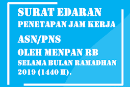 Surat Edaran Penetapan Jam Kerja ASN/PNS oleh Menpan RB Selama Bulan Ramadhan 2019 (1440 H).