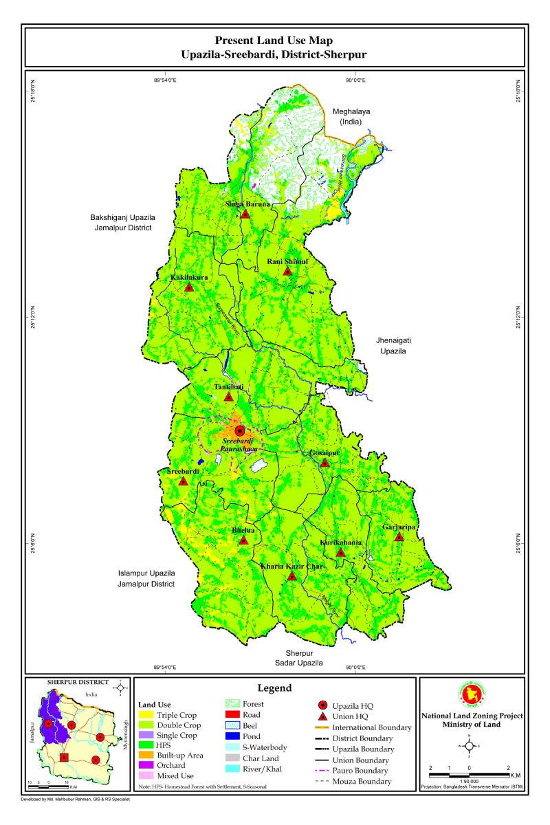 Sreebordi Upazila Mouza Map Sherpur District Bangladesh