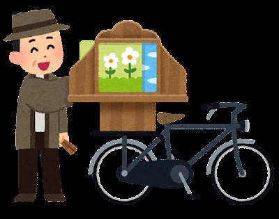 自転車紙芝居屋のイラスト