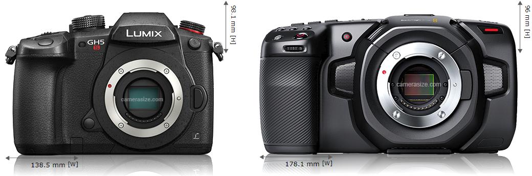 Сравнение размеров Panasonic GH5s и Blackmagic Pocket Cinema Camera 4K