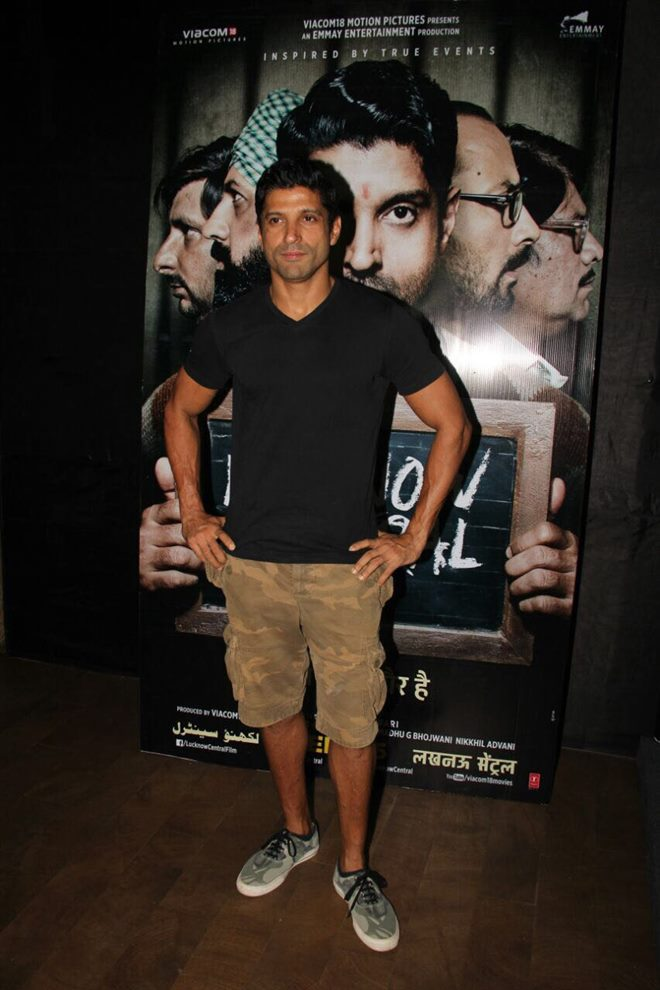 Farhan Akhtar at Lucknow Central Special Screening At Light Box In Mumbai