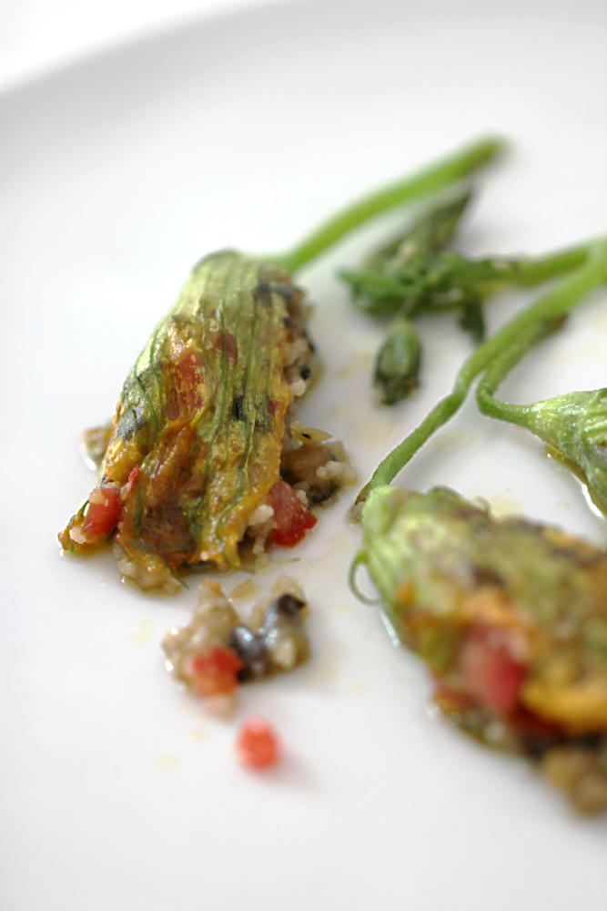 Gebratene Kürbisblüte,  gefüllt mit Couscous, Zucchini, Aubergine und Tomaten-Concassée | Arthurs Tochter Kocht von Astrid Paul